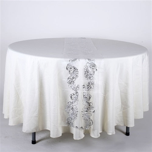 White w/ Silver - 14 X 108 Inch Metallic Organza Table Runners