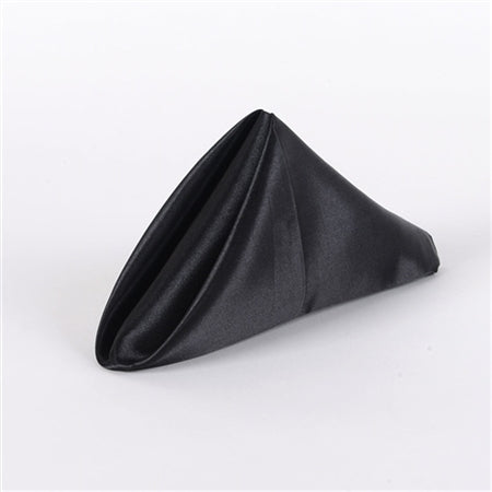 Black - 20 x 20 Inch Satin Table Napkins ( 5 Pieces )