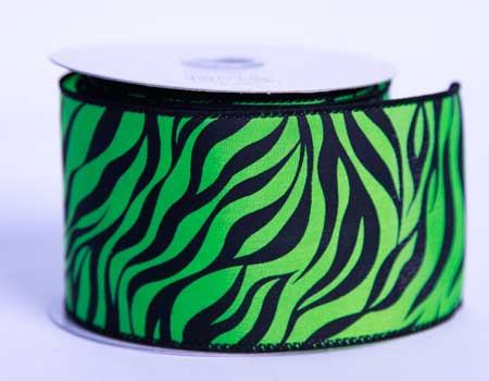 2-1/2 inch Lime Satin Ribbon Animal Print