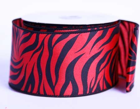 2-1/2 inch Red Satin Ribbon Animal Print