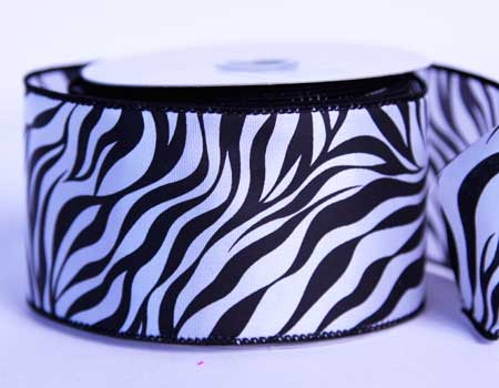 2-1/2 inch Black Satin Ribbon Animal Print