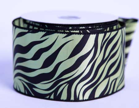 2-1/2 inch Daffodil Satin Ribbon Animal Print