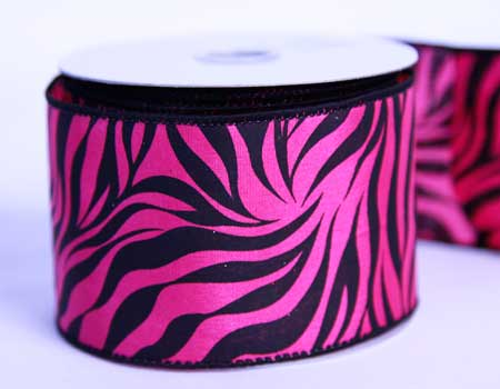 2-1/2 inch Fuchsia Satin Ribbon Animal Print