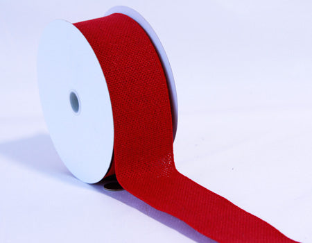 1-1/2 inch Red Burlap Ribbon