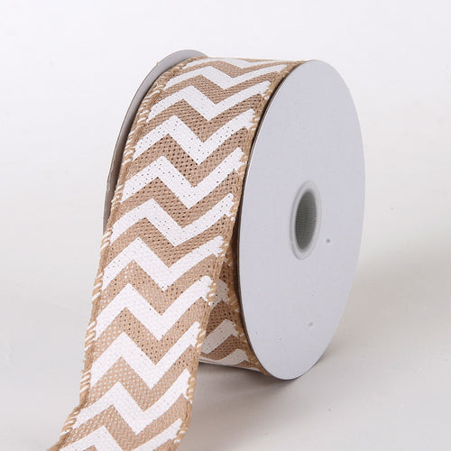 1-1/2 inch Natural Chevron Burlap Wired Edge
