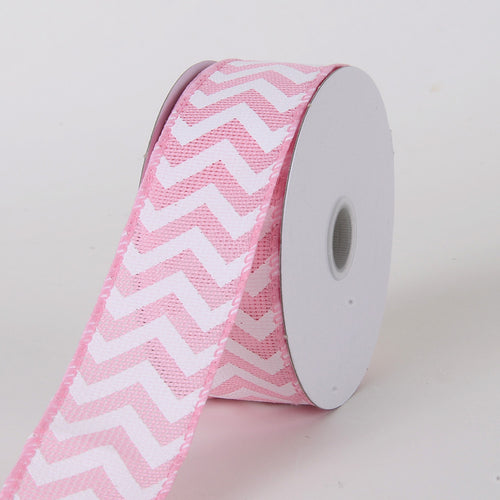 1-1/2 inch Pink Chevron Burlap Wired Edge