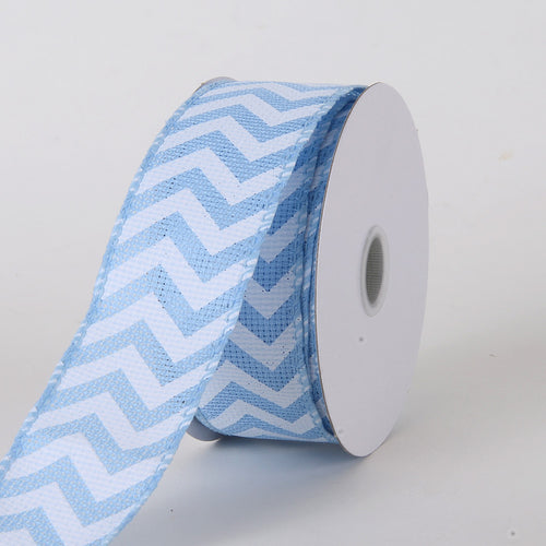 1-1/2 inch Light Blue Chevron Burlap Wired Edge