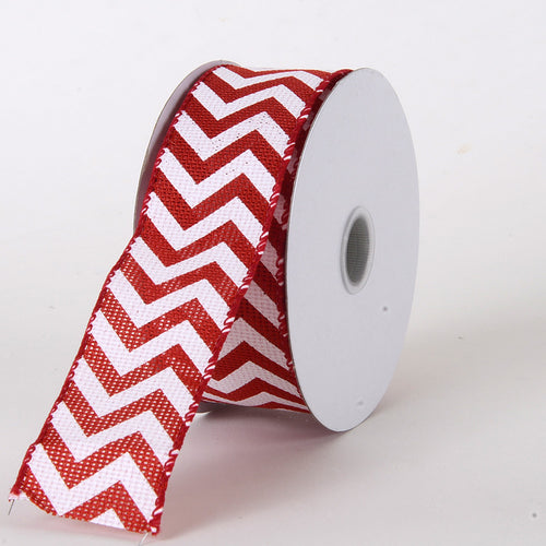 1-1/2 inch Red Chevron Burlap Wired Edge