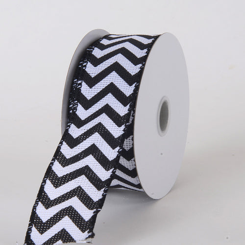 1-1/2 inch Black Chevron Burlap Wired Edge
