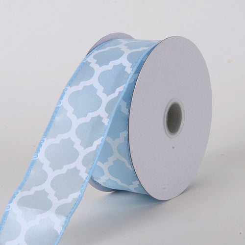 1-1/2 inch Light Blue Satin Ribbon Large Quatrefoil Print