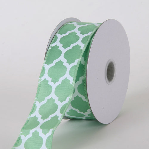 1-1/2 inch Mint Satin Ribbon Large Quatrefoil Print