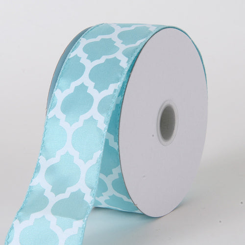 1-1/2 inch Aqua Blue Satin Ribbon Large Quatrefoil Print