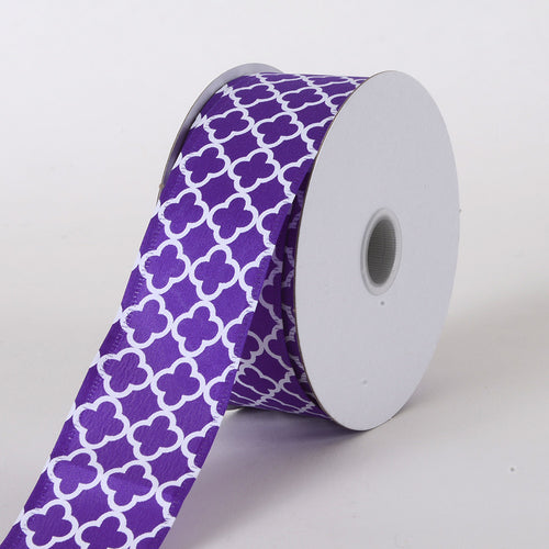 1-1/2 inch Purple Satin Quatrefoil Print Ribbon