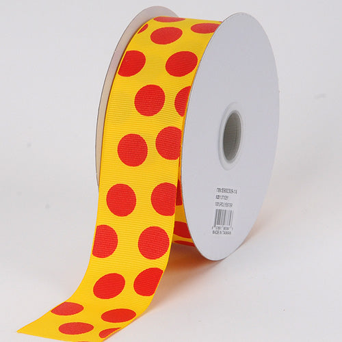 1-1/2 inch Daffodil with Red Dots Grosgrain Ribbon Jumbo Dots
