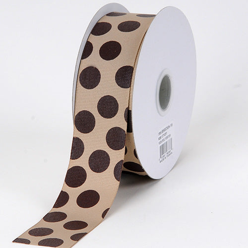 1-1/2 inch Coffee With Brown Dots Grosgrain Ribbon Jumbo Dots