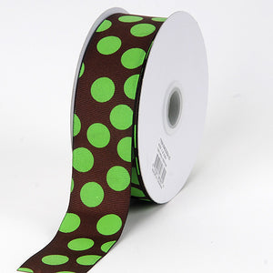 1-1/2 inch Chocolate with Green Dots Grosgrain Ribbon Jumbo Dots