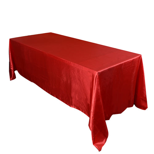 90 inch x 132 inch Red 90 x 132 Satin Rectangle Tablecloth