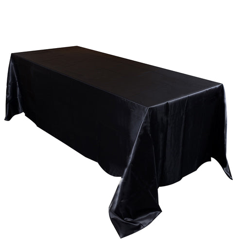 90 inch x 132 inch Black 90 x 132 Satin Rectangle Tablecloth