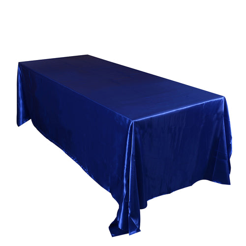 90 inch x 132 inch Royal Blue 90 x 132 Satin Rectangle Tablecloth