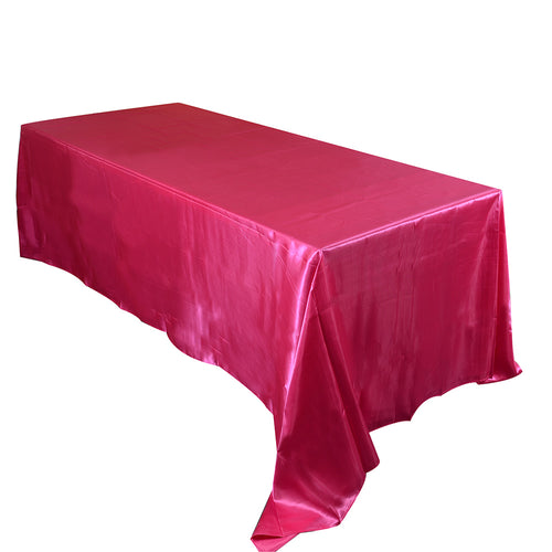 90 inch x 132 inch Fuchsia 90 x 132 Satin Rectangle Tablecloth