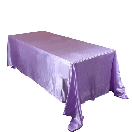 90 inch x 132 inch Lavender 90 x 132 Satin Rectangle Tablecloth