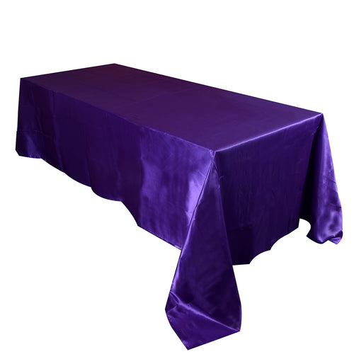 90 inch x 132 inch Purple 90 x 132 Satin Rectangle Tablecloth