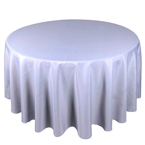 Silver - 70 Inch Polyester Round Tablecloths