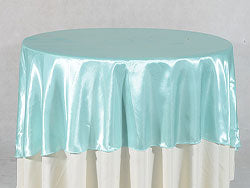 Aqua Blue - 90 Inch Satin Round Tablecloths