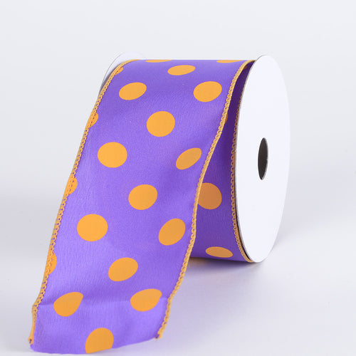 Purple with Light Gold Dots Satin Polka Dot Ribbon Wired - ( W: 2-1/2 Inch | L: 10 Yards )