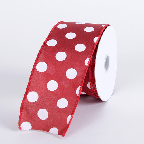 Red with White Dots Satin Polka Dot Ribbon Wired - ( W: 2-1/2 Inch | L: 10 Yards )