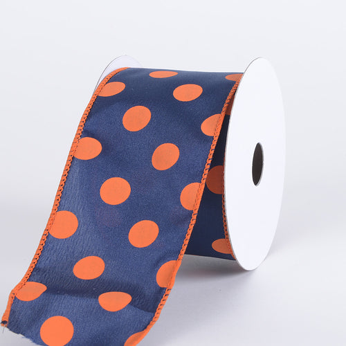 2-1/2 inch Navy with Orange Dots Satin Polka Dot Ribbon Wired
