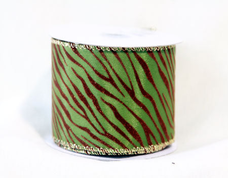 2-1/2 Inch x 10 Yards Spring Moss Animal Print Ribbon