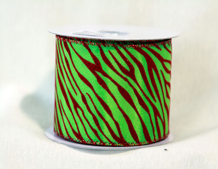2-1/2 Inch x 10 Yards Apple Green Animal Print Ribbon