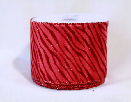 2-1/2 Inch x 10 Yards Red Animal Print Ribbon