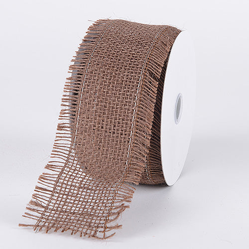 2-1/2 inch Chocolate Brown Frayed Edge Burlap Wired Edge