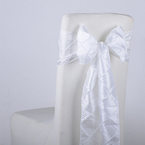 7 inch x 108 inch White Pintuck Satin Chair Sashes