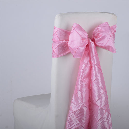 7 inch x 108 inch Pink Pintuck Satin Chair Sashes