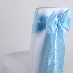 7 inch x 108 inch Light Blue Pintuck Satin Chair Sashes