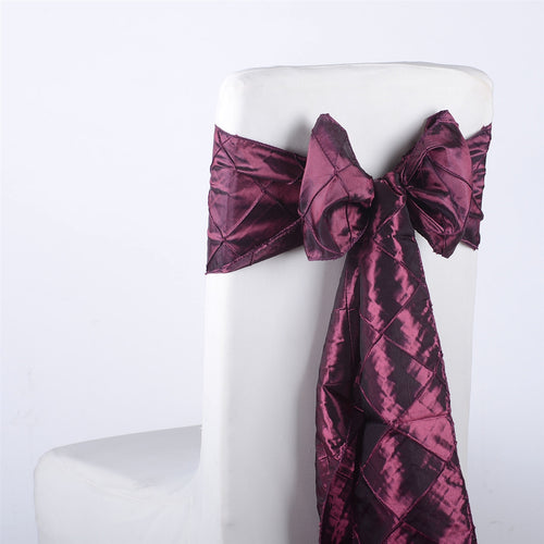 7 inch x 108 inch Burgundy Pintuck Satin Chair Sashes