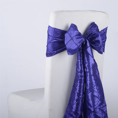 7 inch x 108 inch Purple Pintuck Satin Chair Sashes