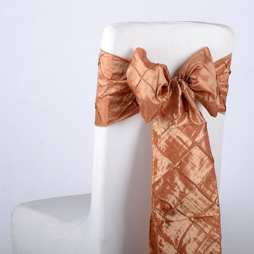 7 inch x 108 inch Gold Pintuck Satin Chair Sashes
