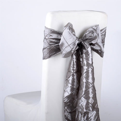 7 inch x 108 inch Silver Pintuck Satin Chair Sashes