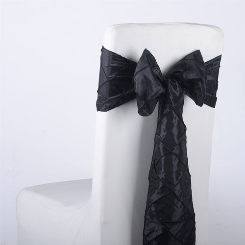 7 inch x 108 inch Black Pintuck Satin Chair Sashes