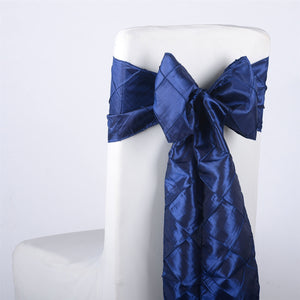 7 inch x 108 inch Navy Pintuck Satin Chair Sashes