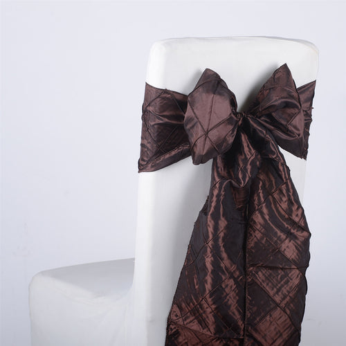 7 inch x 108 inch Chocolate Brown Pintuck Satin Chair Sashes
