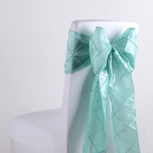 7 inch x 108 inch Aqua Blue Pintuck Satin Chair Sashes