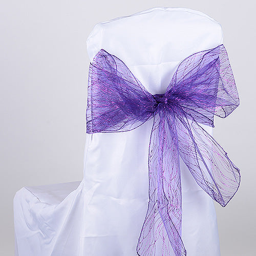 Pack of 10 Pieces - 8 inches x 108 inches Purple Glitter Organza Chair Sash
