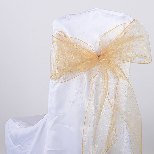 Pack of 10 Pieces - 8 inches x 108 inches Gold Glitter Organza Chair Sash