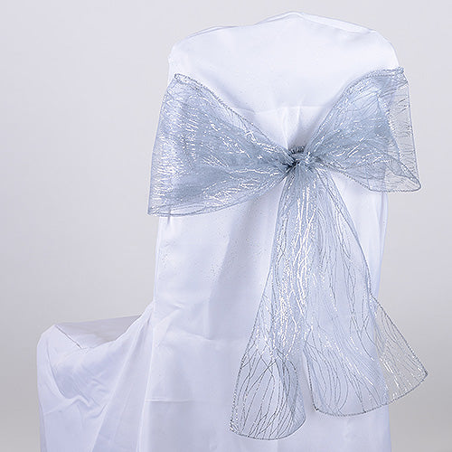 Pack of 10 Pieces - 8 inches x 108 inches Silver Glitter Organza Chair Sash