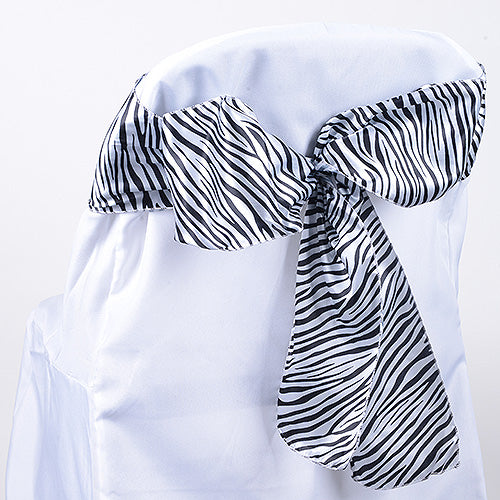 Pack of 10 Piece -06 inches White Animal Print Satin Chair Sash